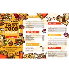 Fast food burgers hotdog and kebabs menu vector