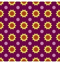 Flower and circle seamless pattern vector image