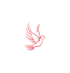 flying pigeon mono line wedding logo designs vector image