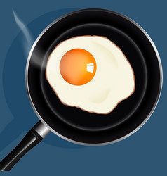 Fried eggs in pan with handle on table top view vector image