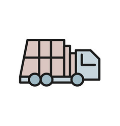 garbage truck vehicle for waste flat color line vector image