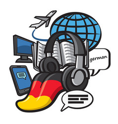 German language study vector