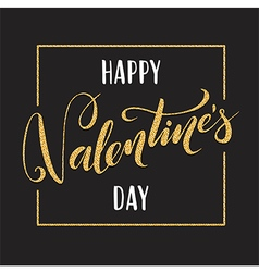 Gold Valentines day lettering for greeting card vector image