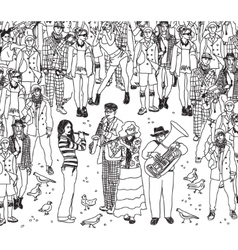 Group street musicians band with audience black vector