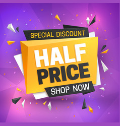 Half price sale banner hot super offer 50 off vector
