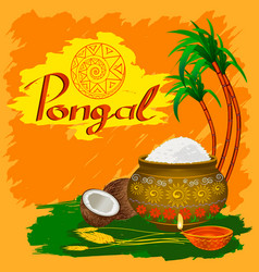 Happy pongal holiday harvest and festival nice vector