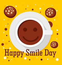 Happy smile coffee day concept background flat vector