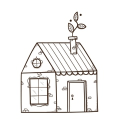 House with leaf as smoke from chimney vector image