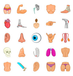 Human body icons set cartoon style vector