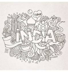 India country hand lettering and doodles elements vector