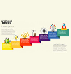 Infographic with business icons seven steps vector
