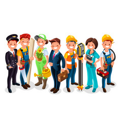 labor day cartoon characters vector image