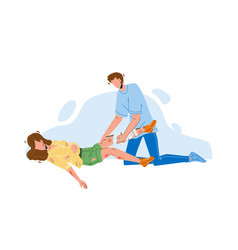 Man providing first aid injured young girl vector