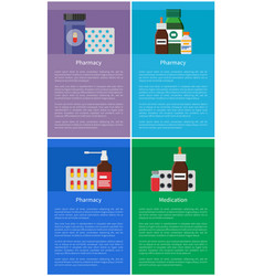 Medication pharmacy items vector