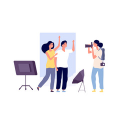 models and photographer professional photo vector image