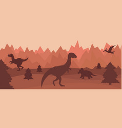 Mountain landscape with silhouettes of dinosaurs vector
