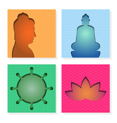 Paper cut square banner of buddhism theme vector