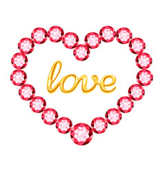 pink heart of crystals and gold inscription love vector image