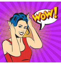 Pop art surprised woman face with smile and a WOW vector