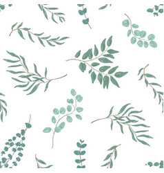 realistic eucalyptus twigs and leaves seamless vector image