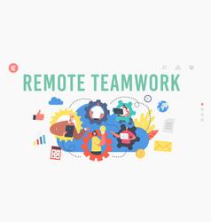 Remote teamwork landing page template webcam vector