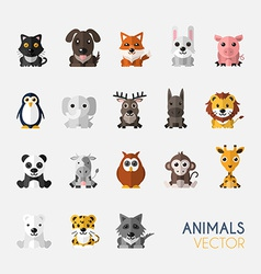 set cute animals with flat design vector image
