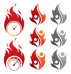 Set design isolated fire emoji vector