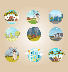 set icons urban and rural landscapes vector image