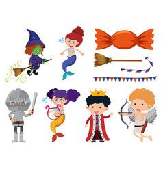 set isolated objects fairytales vector image