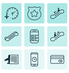 set of 9 traveling icons includes call duration vector image