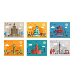 set of different cities for travel destinations vector image