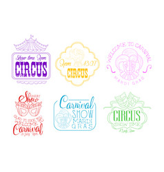 set of emblems for circus and mardi gras vector image