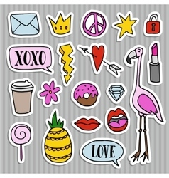 Set of fashion patches badges and stickers vector
