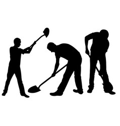 set of people with shovels vector image