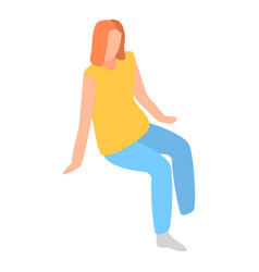 Sit woman icon isometric style vector
