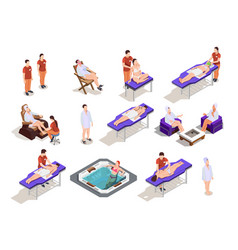 spa salon isometric icons vector image