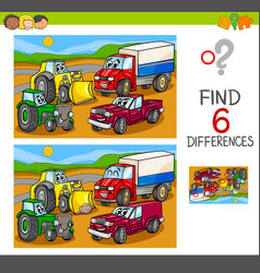 Spot the differences with cars and vehicles vector