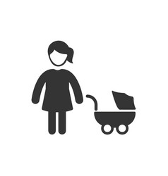Stroller with mother icon vector