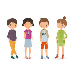stylish boys and girls vector image