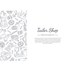 tailor shop banner template with hand drawn sewing vector image