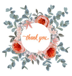 Thank you card with eucalyptus flowers and pink vector