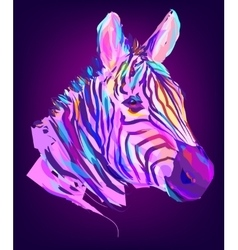 The cute colored zebra head vector image