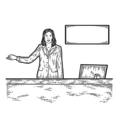 The receptionist woman at reception indicates vector
