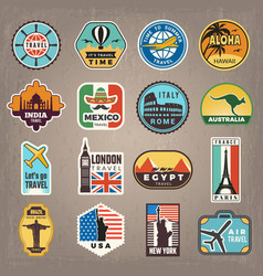 Travel stickers vacation badges or logos vector