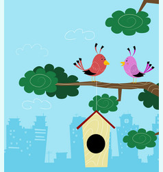 Two birds sitting on branch vector