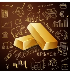 Two gold nuggets and exchange doodle icon vector