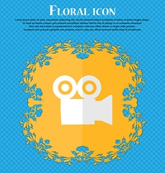 video camera Floral flat design on a blue abstract vector image