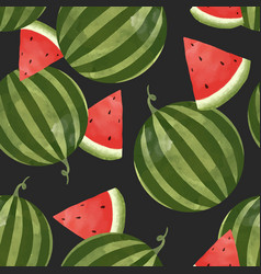 watercolor watermelon pattern vector image