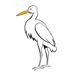 White crane icon cartoon vector