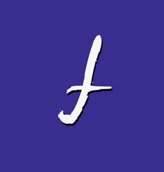 White lower case letter f on violet background vector